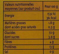 Couscous moyen - Informations nutritionnelles - fr
