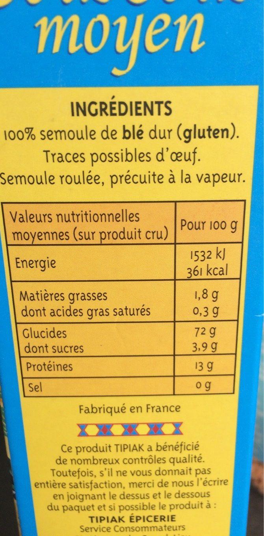 Graine Couscous moyen - Informations nutritionnelles