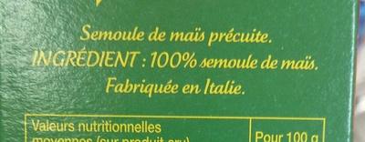 Polenta - Ingredients