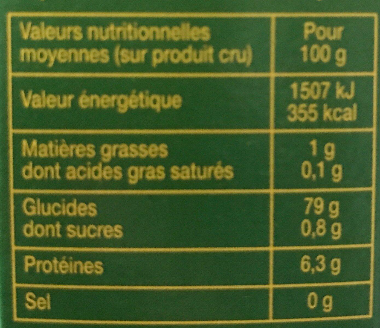 Polenta - Voedingswaarden - fr