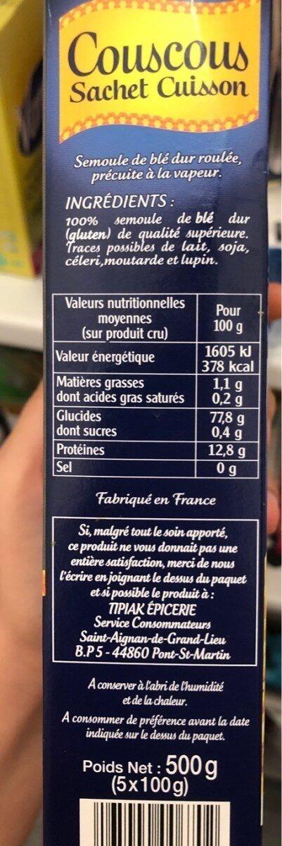 Couscous sachet cuisson - Información nutricional - fr