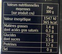 Couscous sachet cuisson - Nährwertangaben - fr