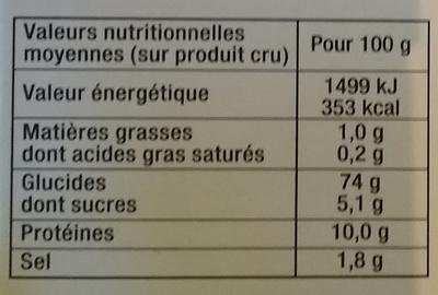 Chapelure dorée extra croustillance - Informations nutritionnelles
