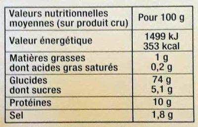 Chapelure Dorée - Informations nutritionnelles