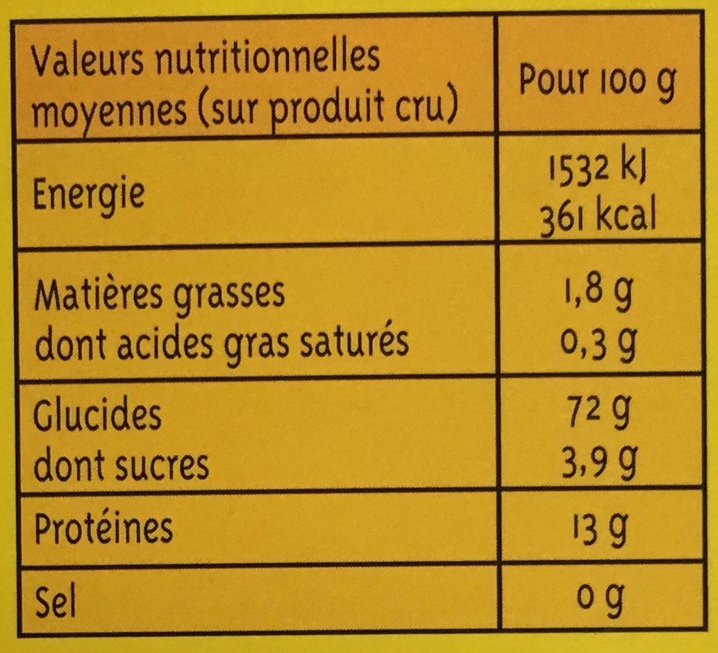 Graine Couscous moyen (+25% gratuit) - Informations nutritionnelles - fr