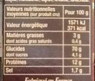 Graine Couscous Parfumé aux épices douces - Informations nutritionnelles