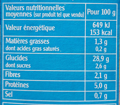 Céréales méditerranéennes - Nutrition facts - fr