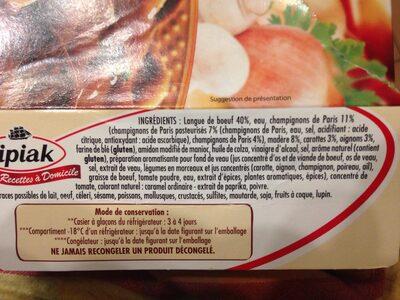 Langue de boeuf - Ingrédients