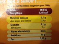 Langue de boeuf - Informations nutritionnelles