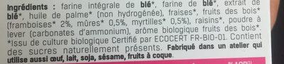 Biscuits Fruits des bois ss sucre/sel bio 225g - Ingredients
