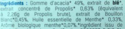 Gommes Propolis Menthe Sans Sucre Bio - Ingredients