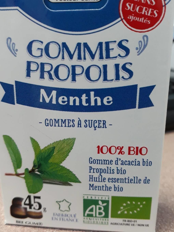 Gommes Propolis Menthe Sans Sucre Bio - Nutrition facts