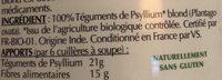 Psyllium Blond Bio - Ingredients - fr