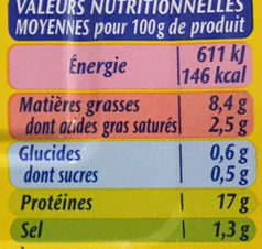 Filets de sardines sans arêtes - Nutrition facts