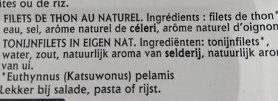 filets de thon au naturel - Ingrediënten