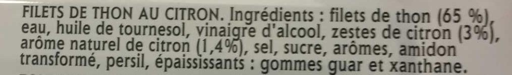 Filet de thon citron - Ingredienti - fr