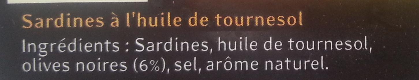 Les sardines (À l'Huile de Tournesol et Olives Noires) - Ingrediënten