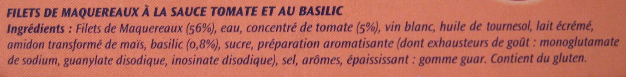 Filets de Maquereaux (Sauce Tomate et Basilic) Lot de 3 - Ingrediënten - fr