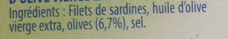 Filets de Sardines (à L'Huile d'Olive vierge extra) Lot de 3 - Ingredients