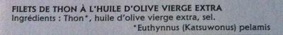 Emincés de filet de thon à l'huile d'olive extra vierge - Ingrédients