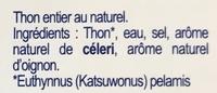 Thon entier au naturel cuit à coeur - Ingrédients - fr