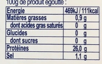 Thon entier au naturel cuit à coeur - Informations nutritionnelles - fr