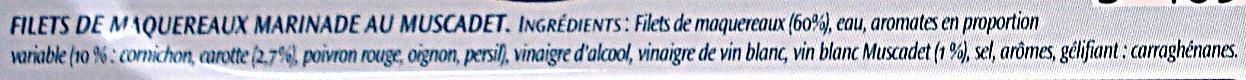 Filets de Maquereaux (Marinade Douce au Muscadet) - Inhaltsstoffe