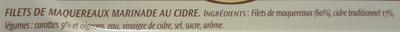 Filets de Maquereaux (Marinade au Cidre) - Ingrédients