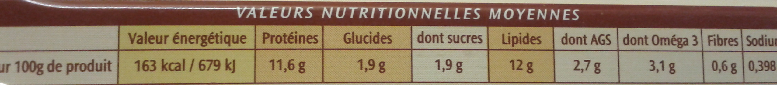 Filets de Maquereaux (Marinade au Cidre) - Nutrition facts - fr