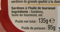Arsène Saupiquet Sardines - Ingrediënten - fr