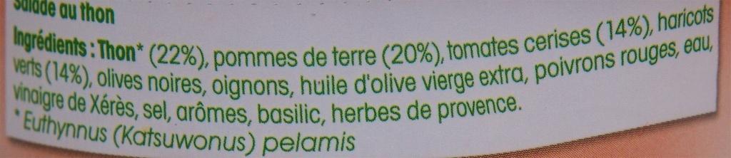 Les Saladières Niçoise - Ingrédients