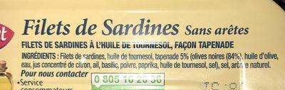 Filets de sardines - Ingrediënten