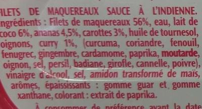 Filets de Maquereaux à l'Indienne - Ingrédients