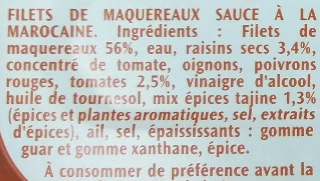 Filets de Maquereaux à la Marocaine - Ingrédients