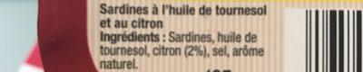 Arsène Saupiquet Sardines au citron et huile de tournesol - Ingrediënten - fr
