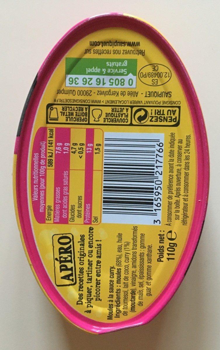 Moules au curry Spécial apéro - Ingrédients