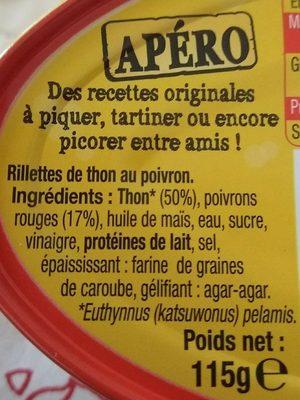 Rillettes de thon poivron - Ingrédients - fr