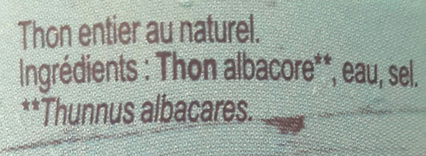 Thon entier au naturel - Ingredients - fr