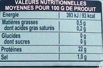 Thon entier nature - Valori nutrizionali - fr