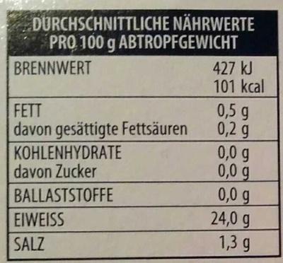 Thunfisch-Filets naturale - Nährwertangaben - de