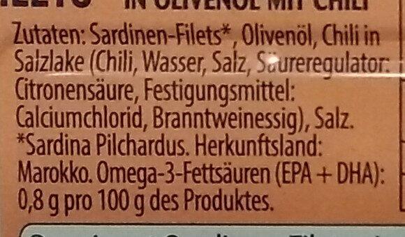 Sardinen-Filets mit Chili - Ingrédients - de