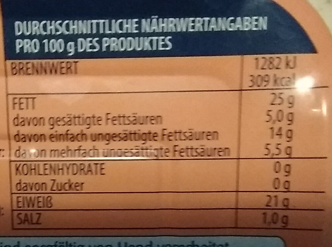Sardinen-Filets mit Chili - Informations nutritionnelles - de