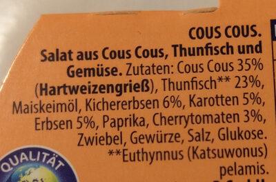 Thunfisch-Salat Cous Cous Saupiquet - Ingrediënten