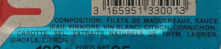 Filets de maquereaux marinés au vin blanc et aux aromates - Ingredients - fr