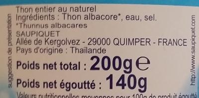 Thon entier au naturel - Ingredienti - fr