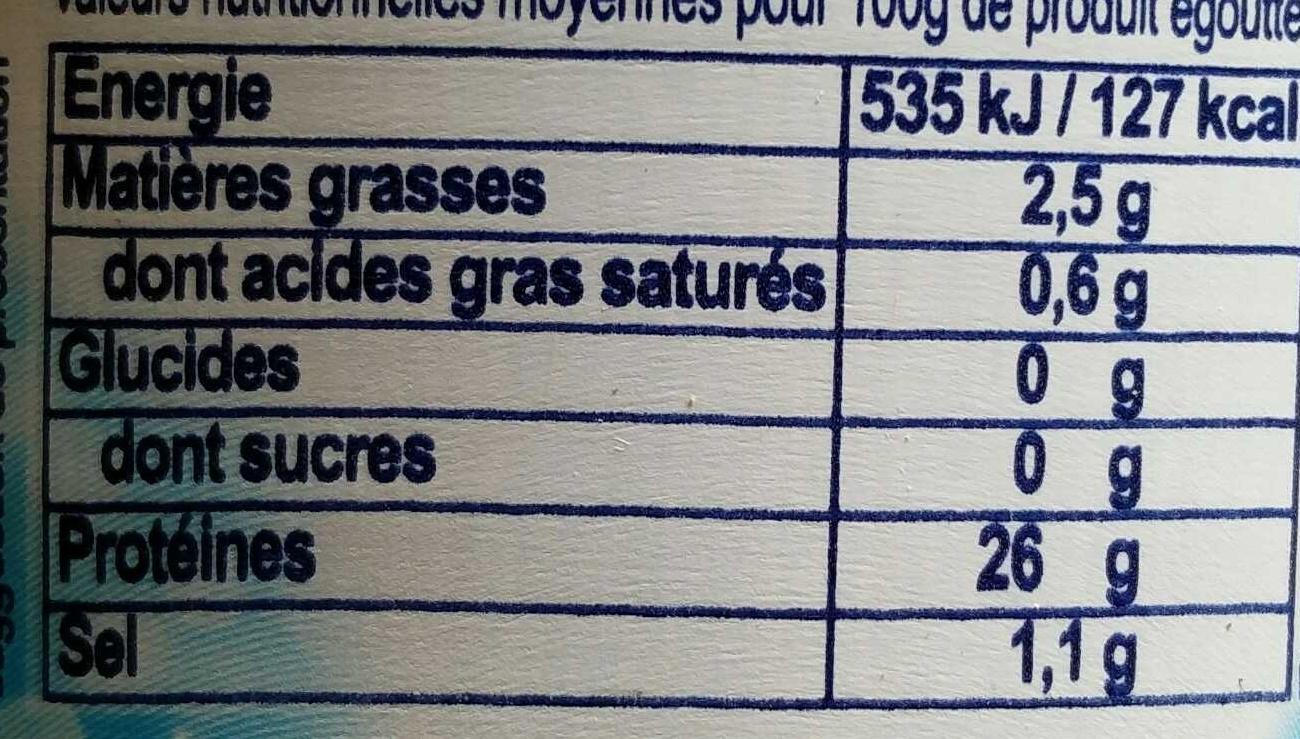 Thon entier au naturel - Valori nutrizionali - fr