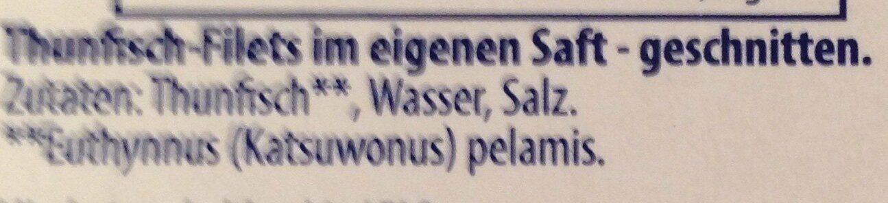 Thunfisch-Filets Naturale, ohne Öl - Zutaten - de