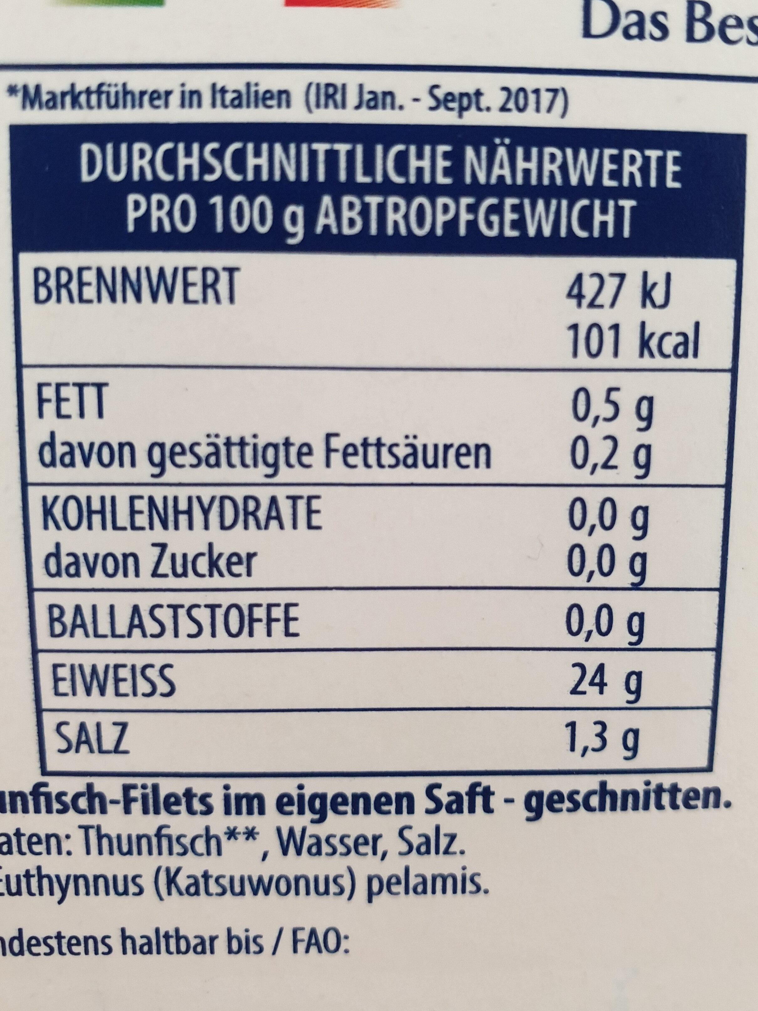 Thunfisch-Filets Naturale, ohne Öl - Nährwertangaben - de