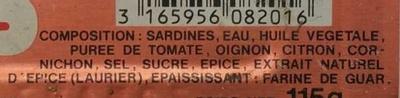 Sardines tomate et aromates - Ingredients - fr