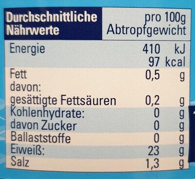 Thunfisch naturale - ohne Öl - Nährwertangaben - de